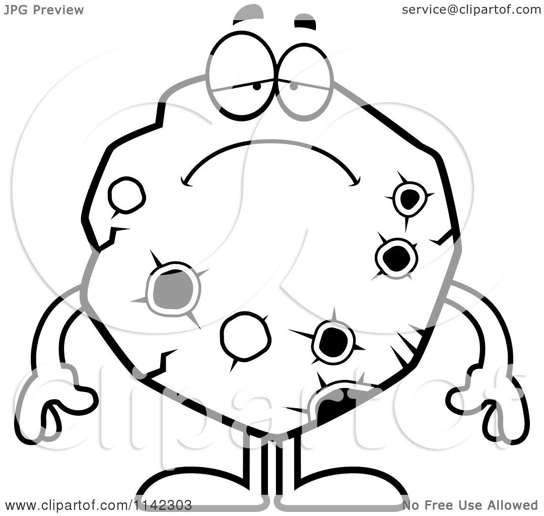 Cartoon Clipart Of A Black And White Depressed Asteroid