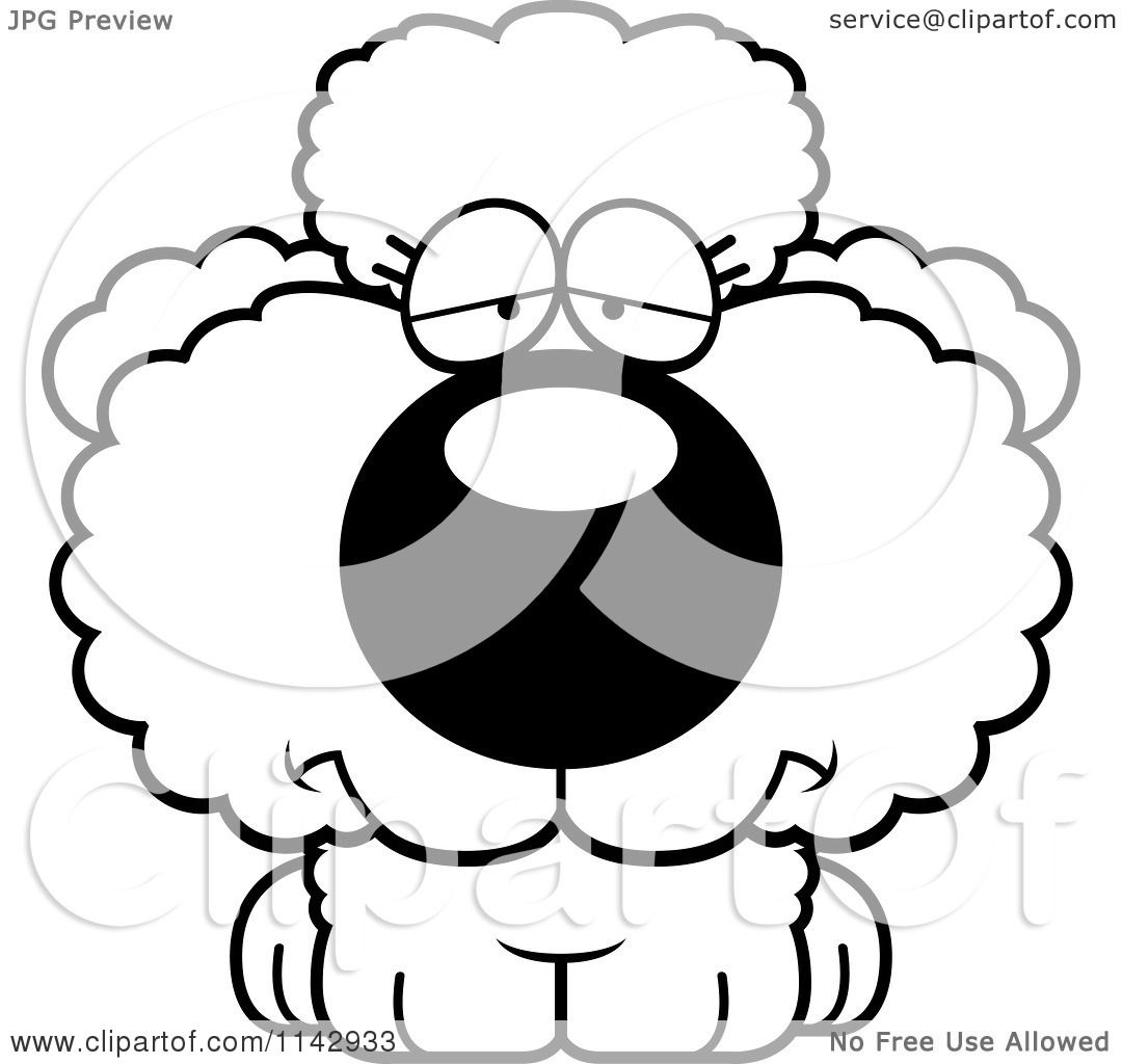 Cartoon Clipart Of A Black And White Depressed Poodle