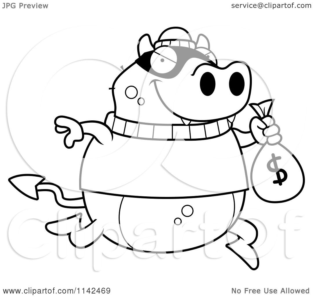 Cartoon Clipart Of A Black And White Devil Robbing A Bank