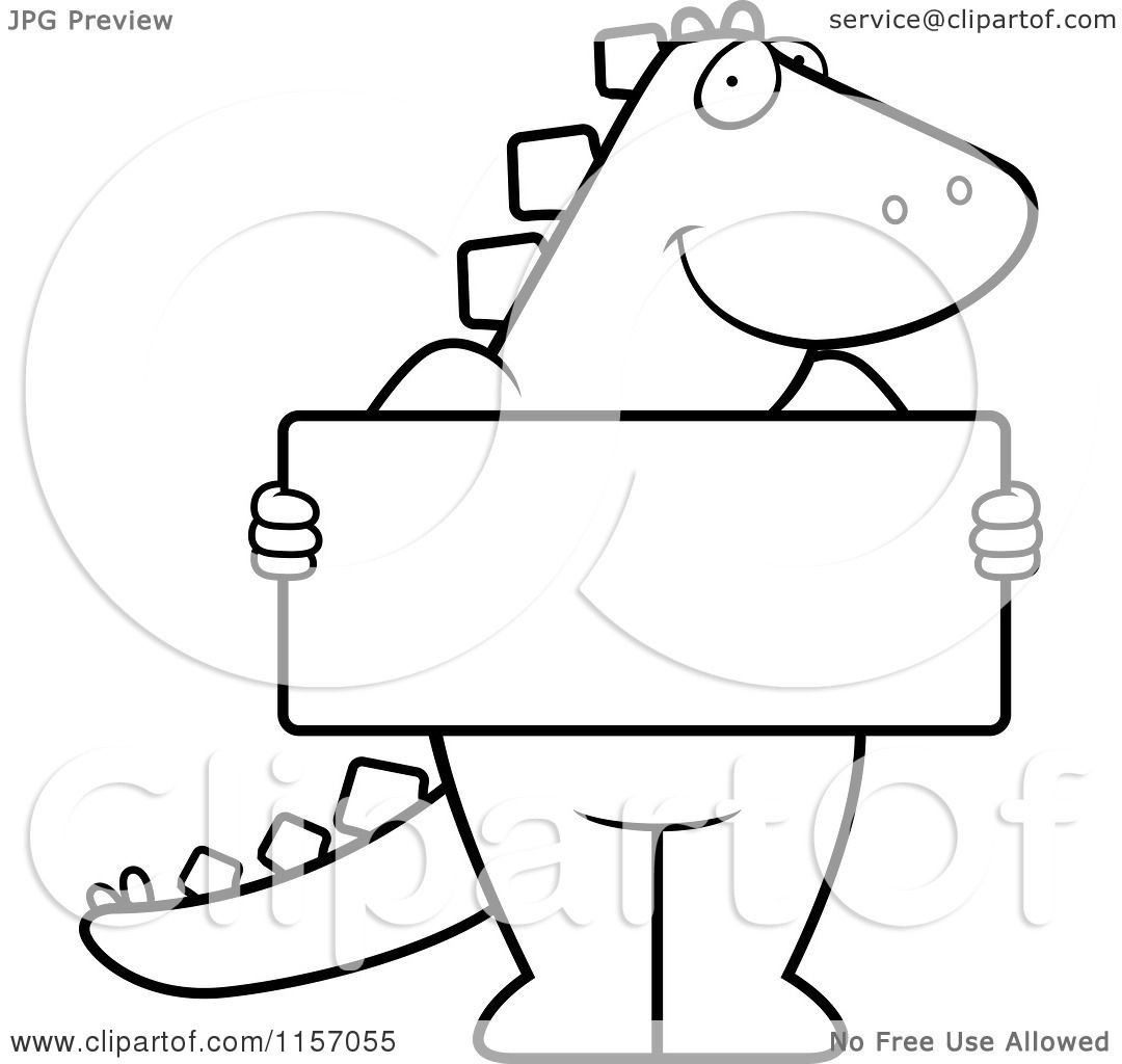 Cartoon Clipart Of A Black And White Dinosaur Standing