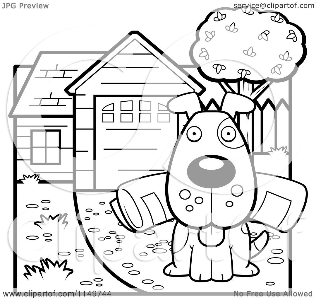 Cartoon Clipart Of A Black And White Dog Sitting in a