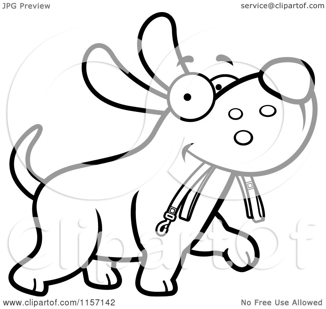 Cartoon Clipart Of A Black And White Dog Walking With A Leash In His Mouth