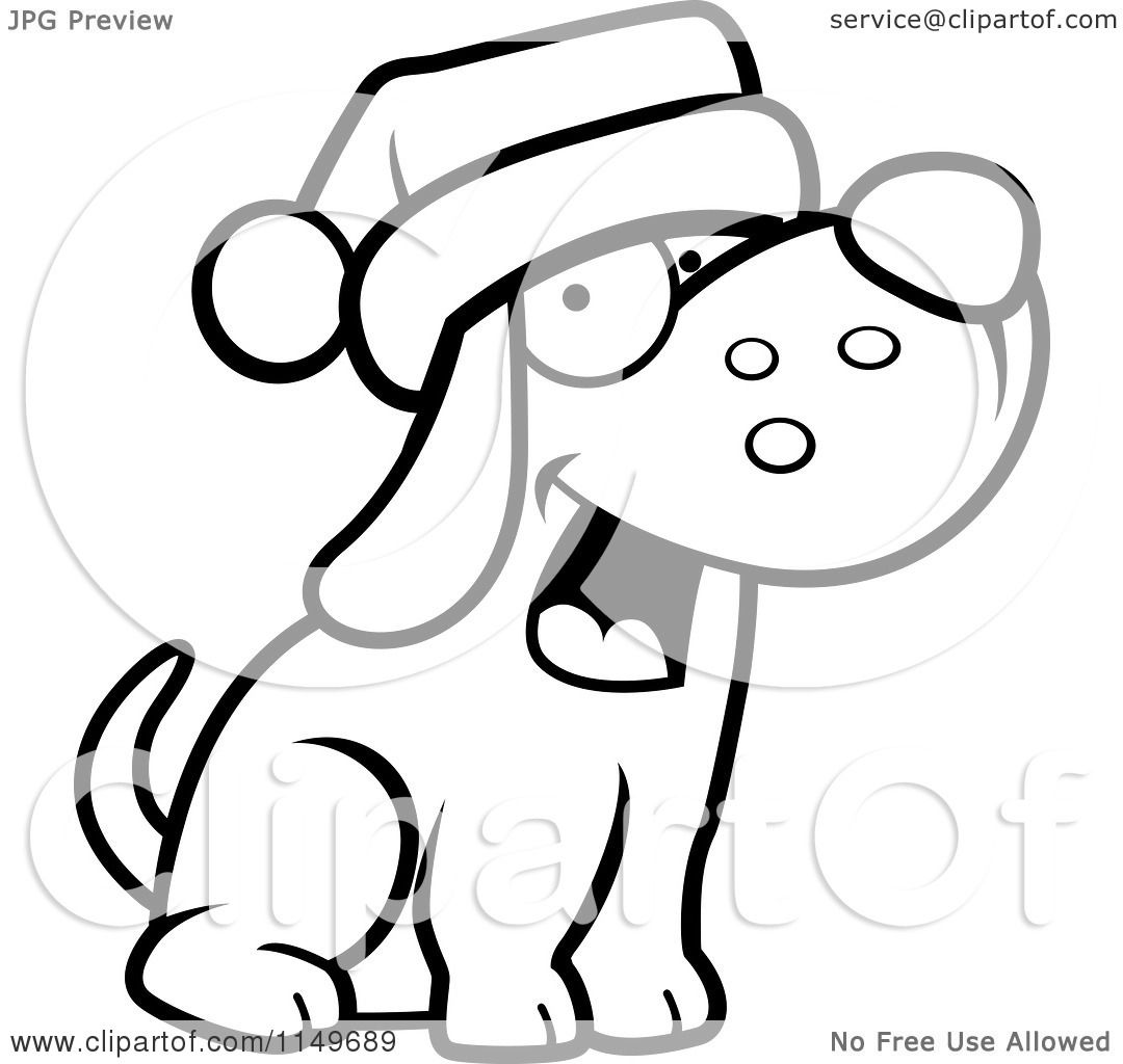 Cartoon Clipart Of A Black And White Dog Wearing A Santa