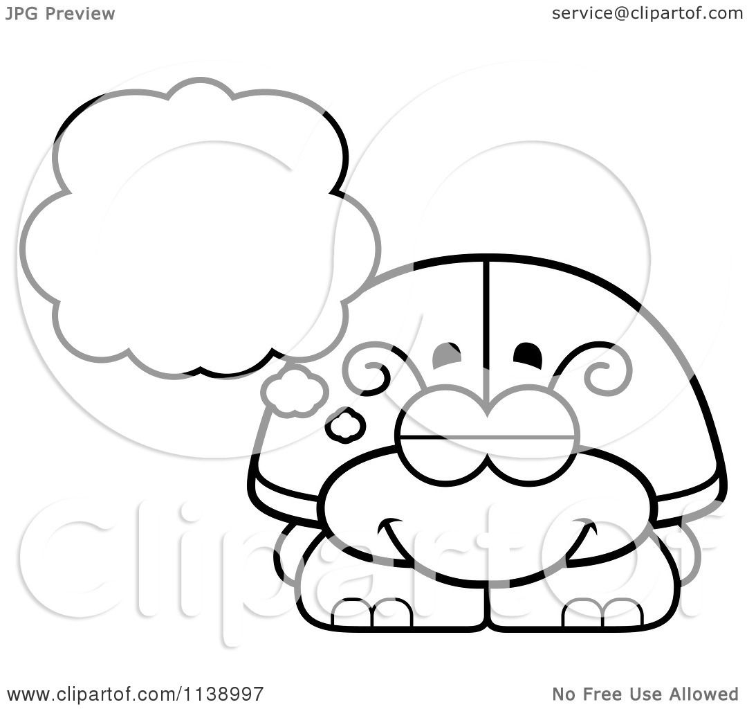 Cartoon Clipart Of A Black And White Dreaming Beetle