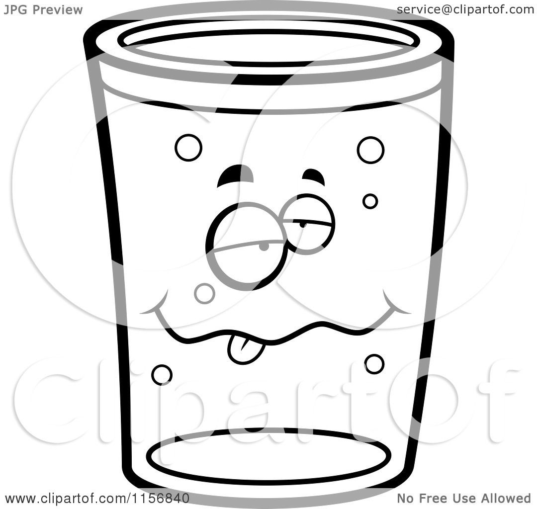 Cartoon Clipart Of A Black And White Drunk Pint Of Beer
