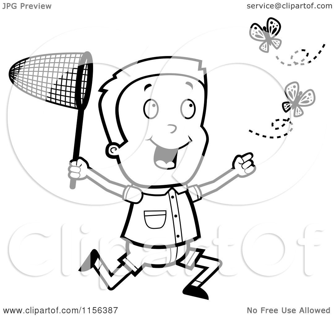 Cartoon Clipart Of A Black And White Energetic Boy Chasing Butterflies With A Net