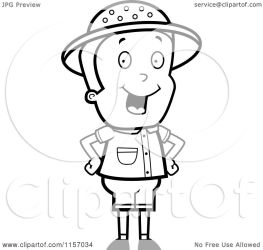 boy standing cartoon clipart hands energetic hips safari vector coloring cory thoman outlined