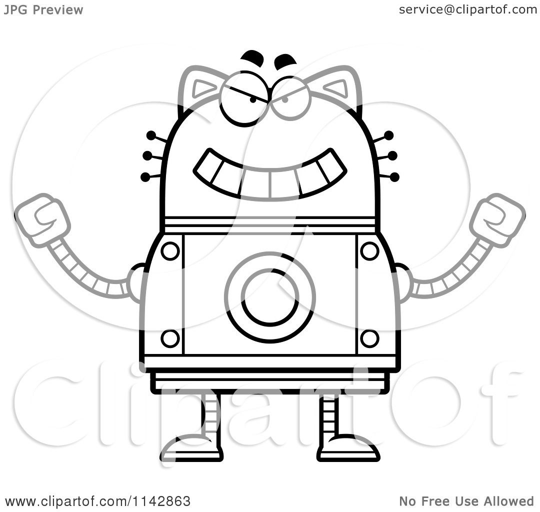 Cartoon Clipart Of A Black And White Evil Robot Cat