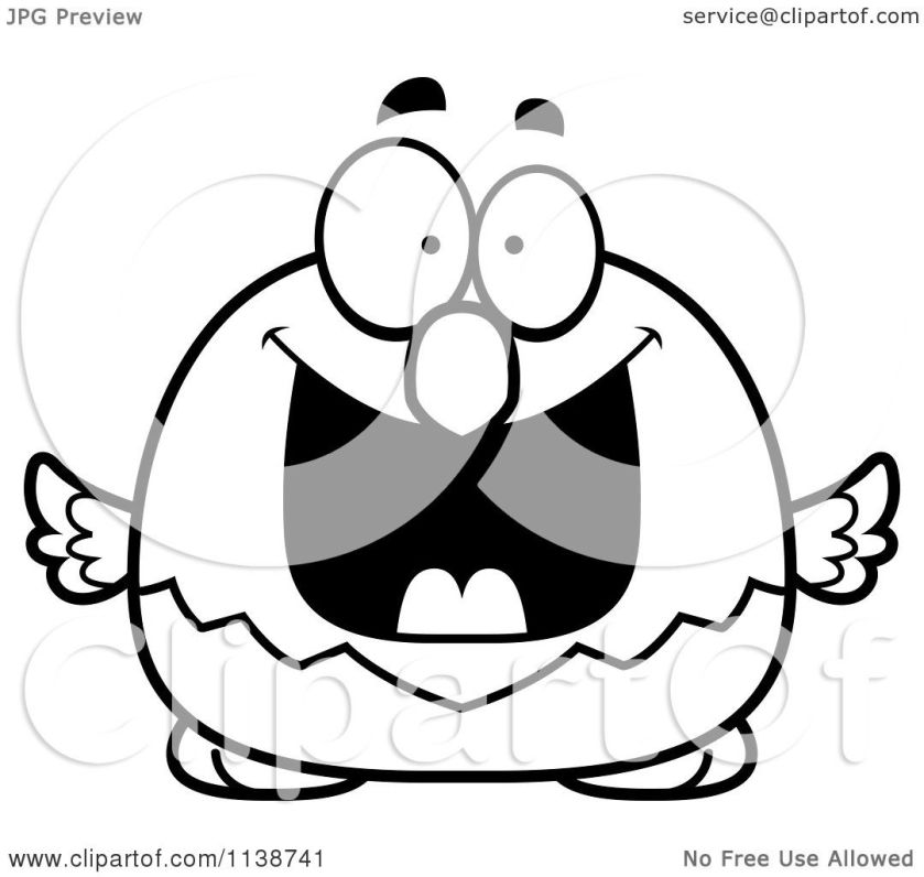 cartoon clipart of a black and white excited bald eagle