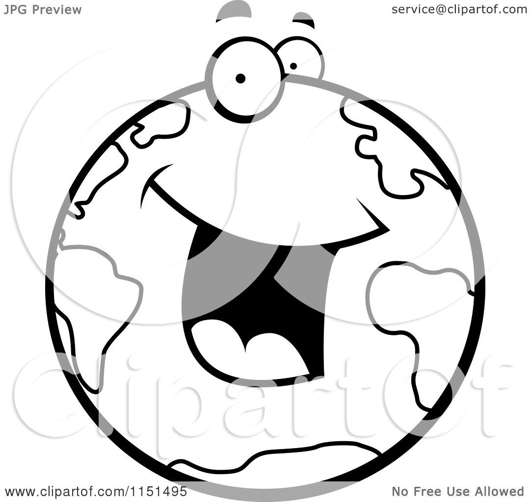Cartoon Clipart Of A Black And White Excited Earth