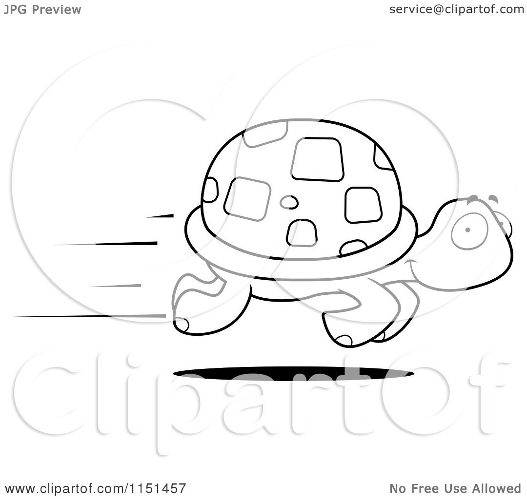 Cartoon Clipart Of A Black And White Fast Turtle Speeding