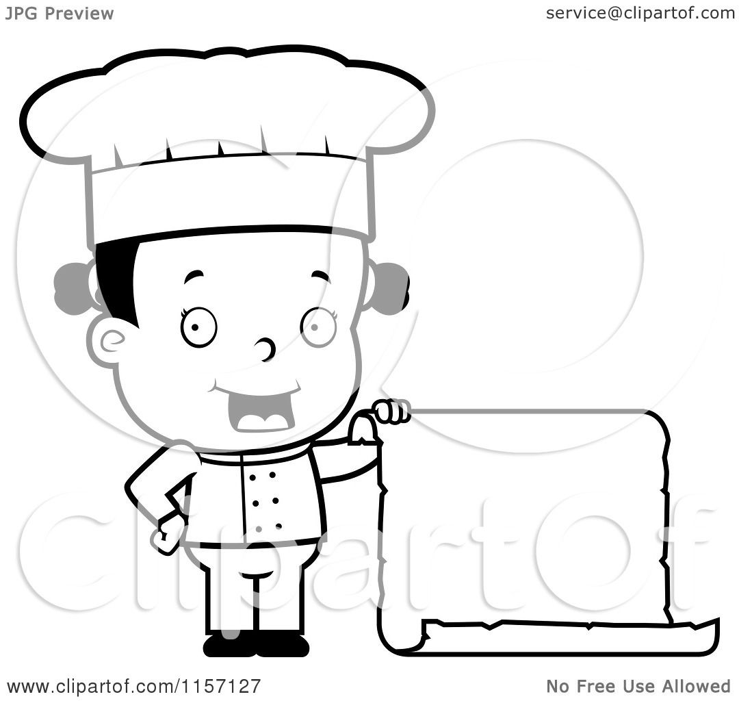 Cartoon Clipart Of A Black And White Female Toddler Chef