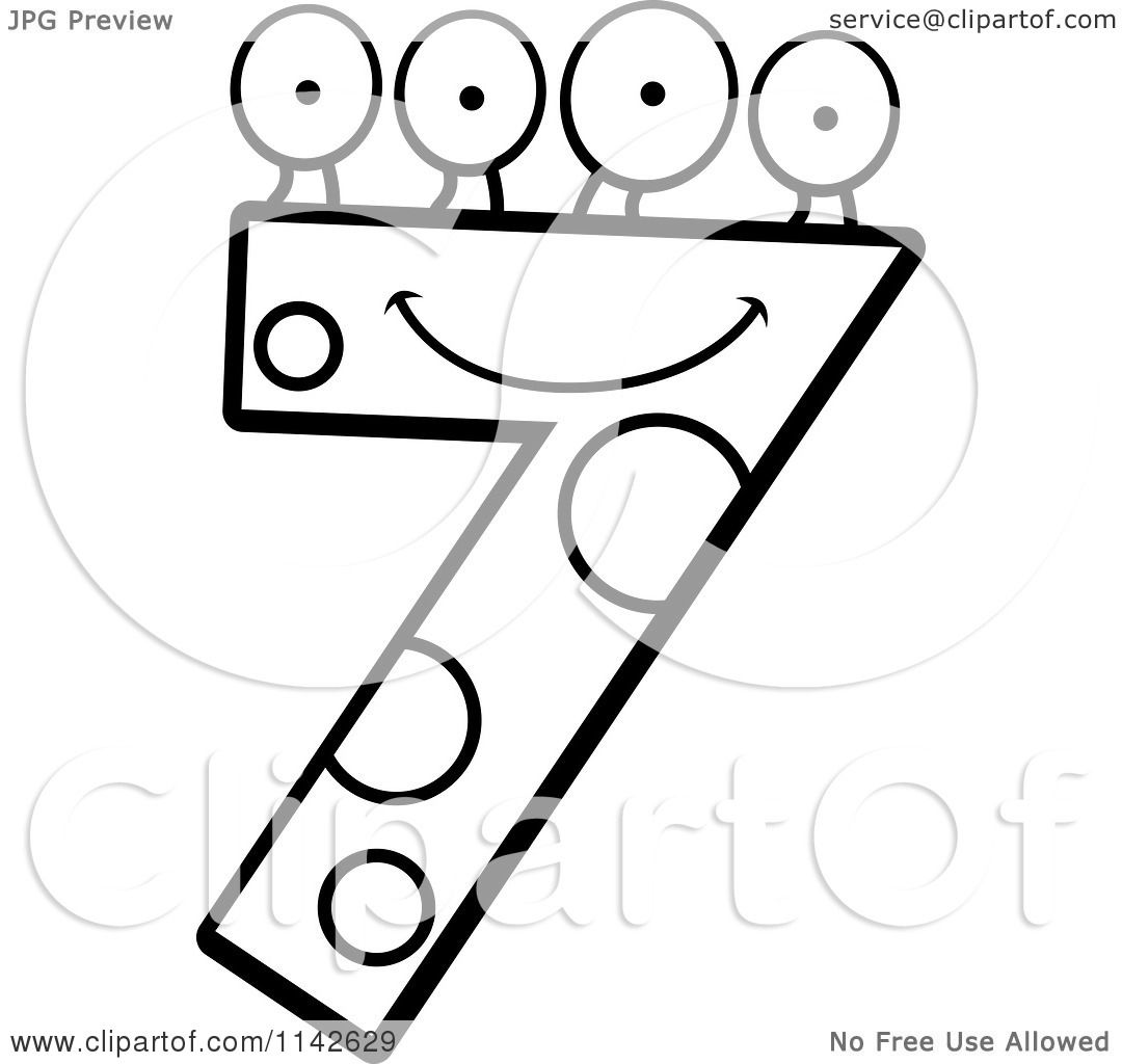 Cartoon Clipart Of A Black And White Four Eyed Number