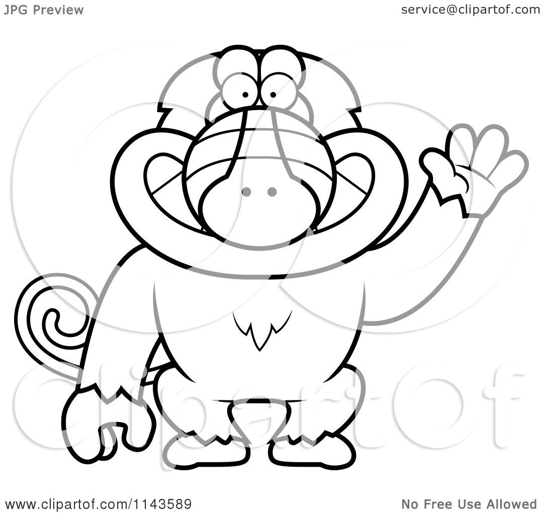 Cartoon Clipart Of A Black And White Friendly Baboon