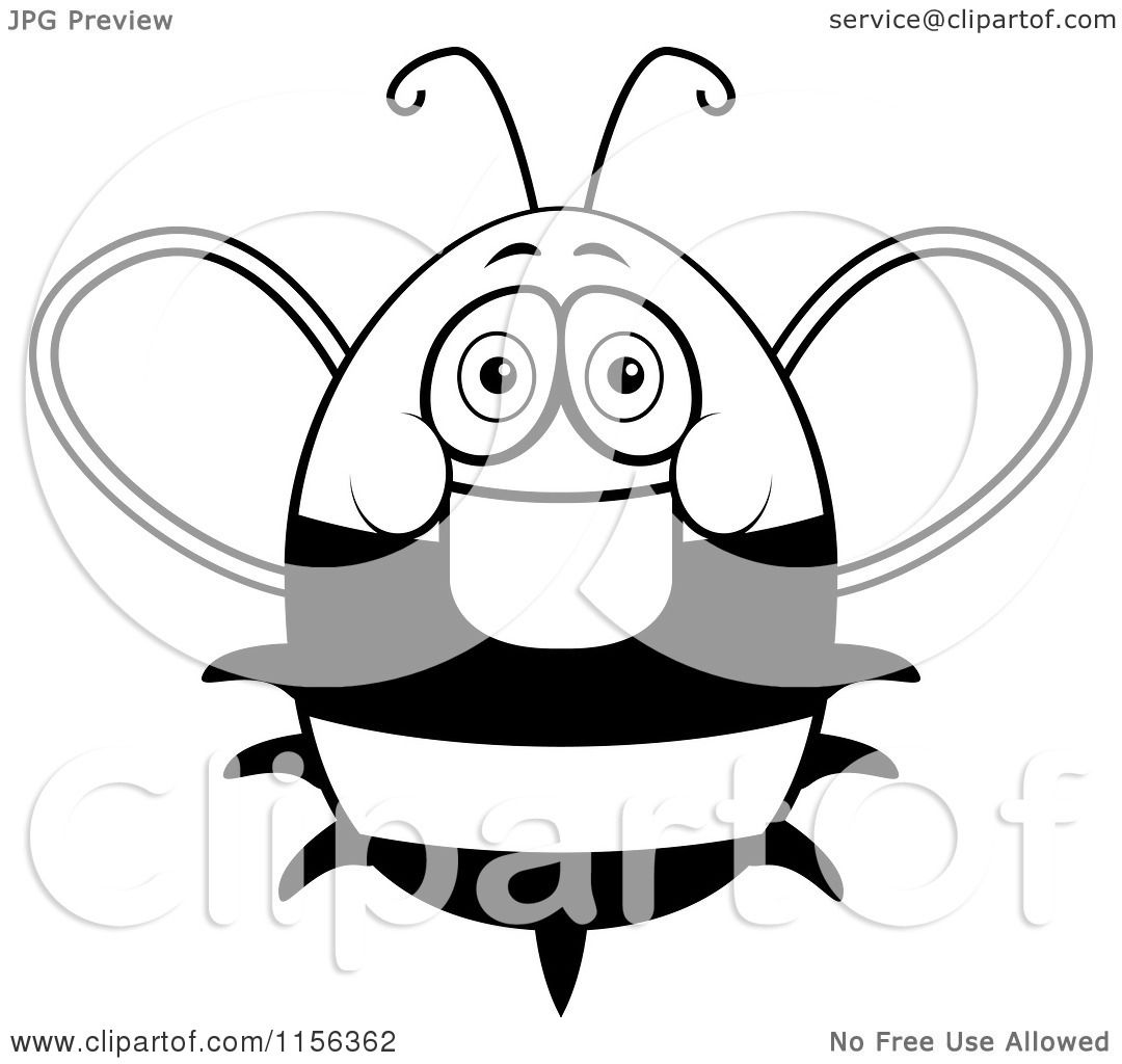 Cartoon Clipart Of A Black And White Friendly Fat Bee