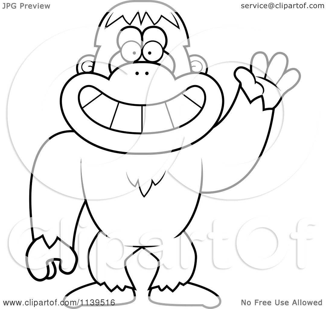 Cartoon Clipart Of A Black And White Friendly Waving