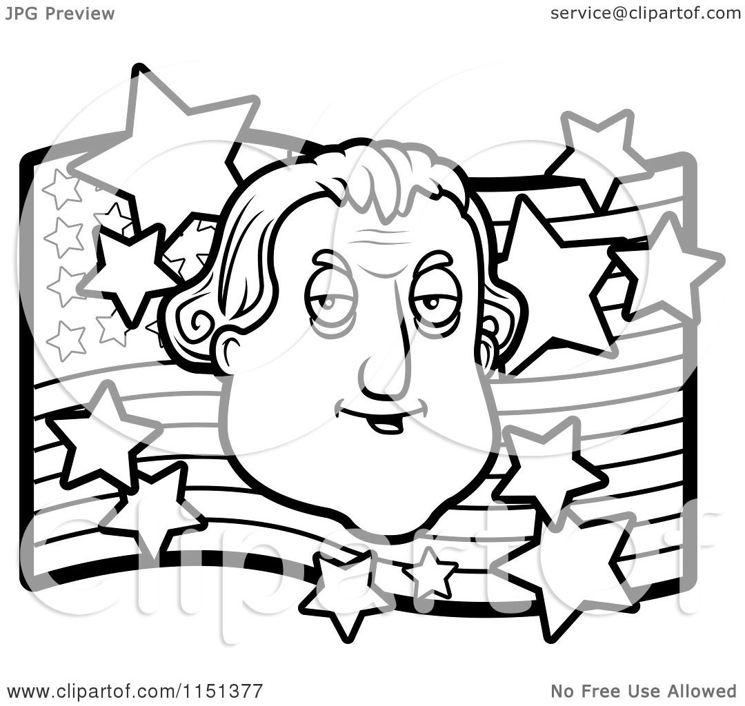 Cartoon Clipart Of A Black And White George Washington Over An American Flag
