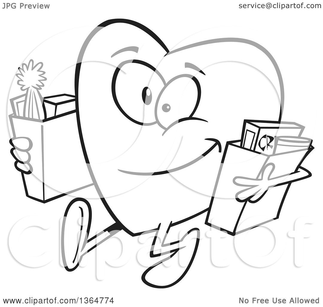 Cartoon Clipart Of A Black And White Giving Heart