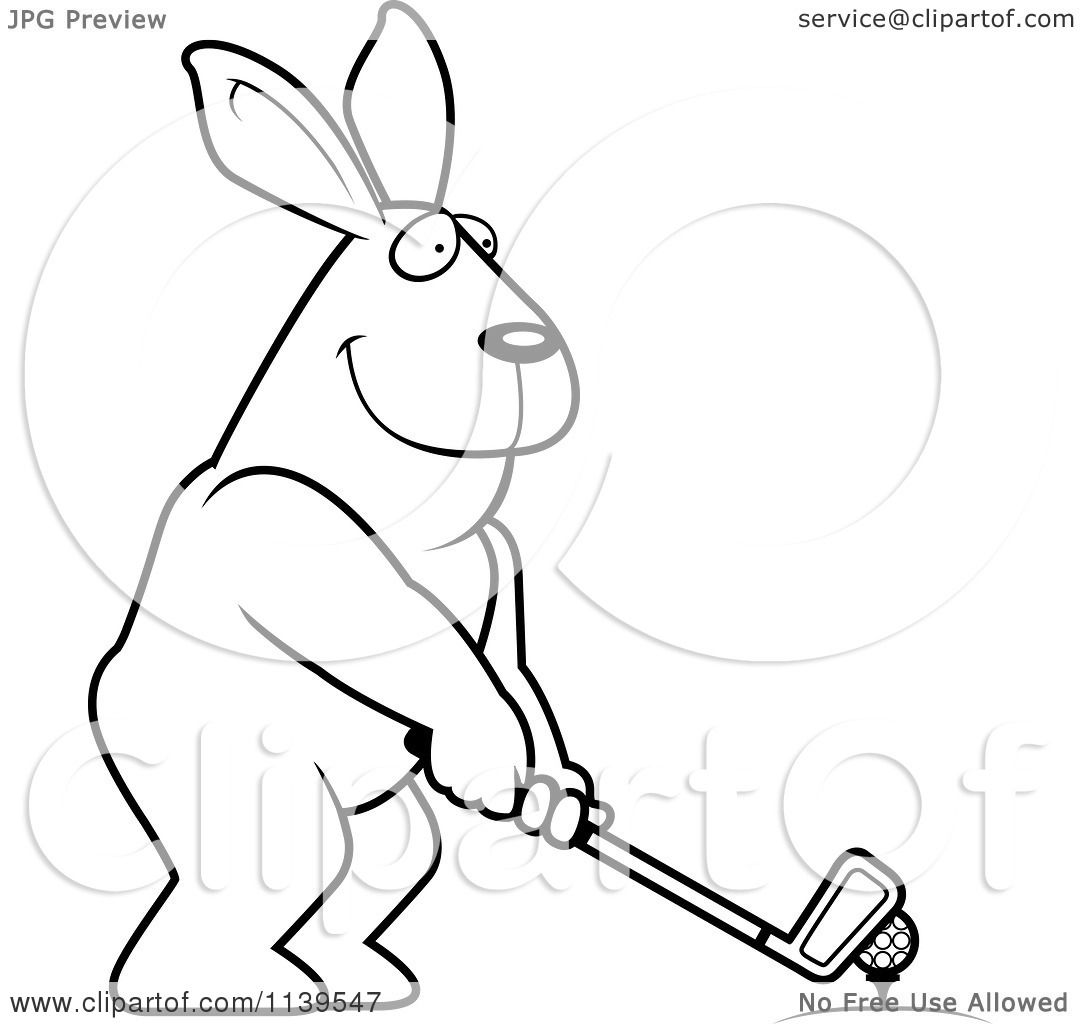 Cartoon Clipart Of A Black And White Golfing Rabbit