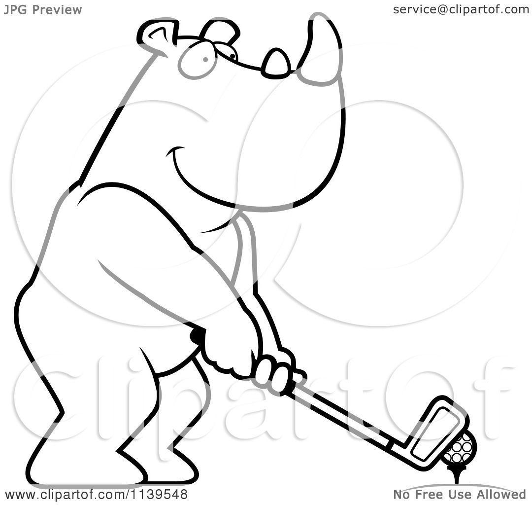 Cartoon Clipart Of A Black And White Golfing Rhino Holding The Club Against The Ball On The Tee