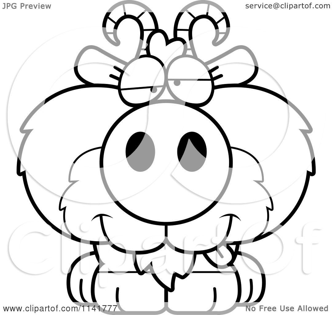 Cartoon Clipart Of A Black And White Goofy Goat Sitting