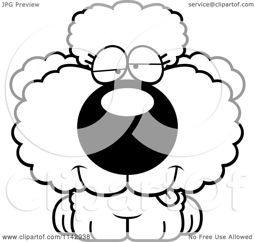 Cartoon Clipart Of A Black And White Goofy Poodle Puppy