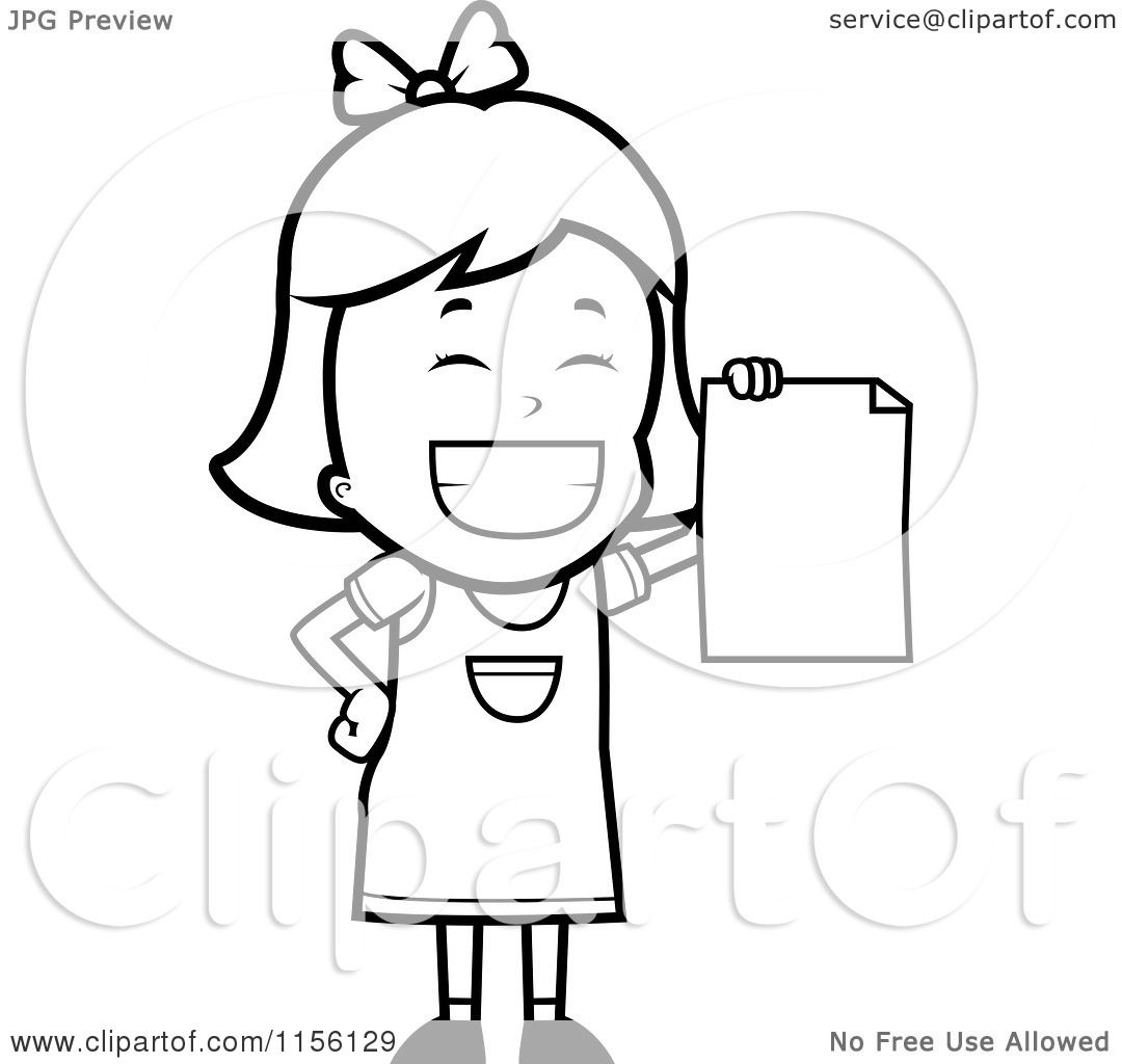 Cartoon Clipart Of A Black And White Grinning Little Girl