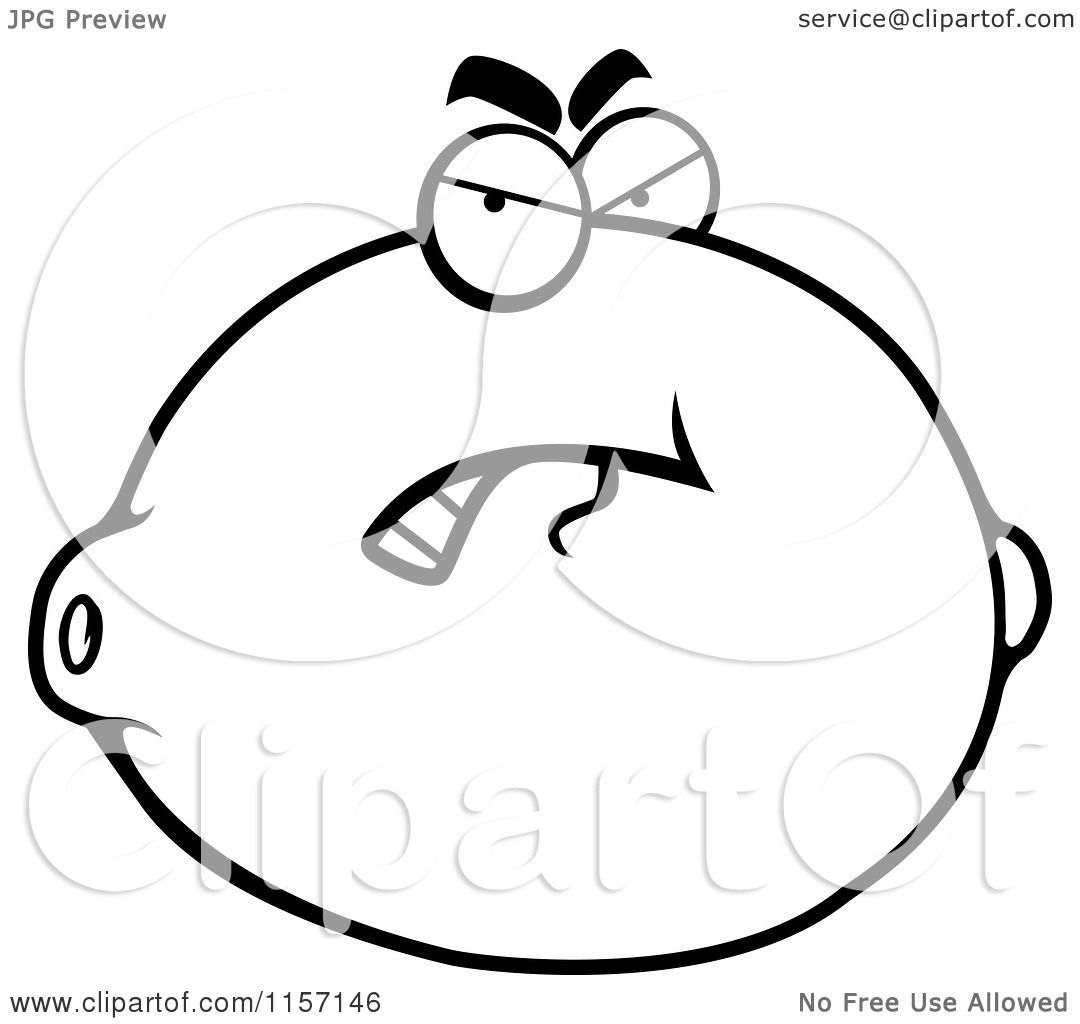 Cartoon Clipart Of A Black And White Grouchy Lemon