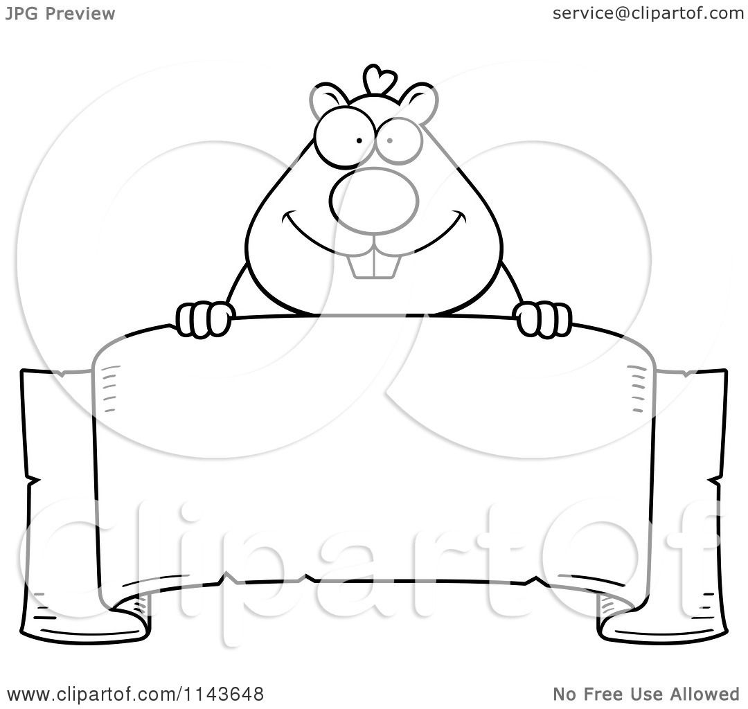 Cartoon Clipart Of A Black And White Hamster Over A Banner