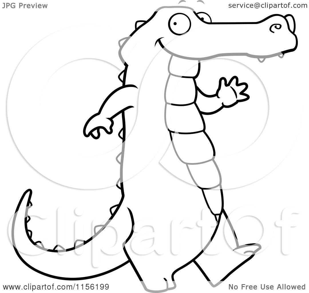 Cartoon Clipart Of A Black And White Happy Alligator Walking And Waving