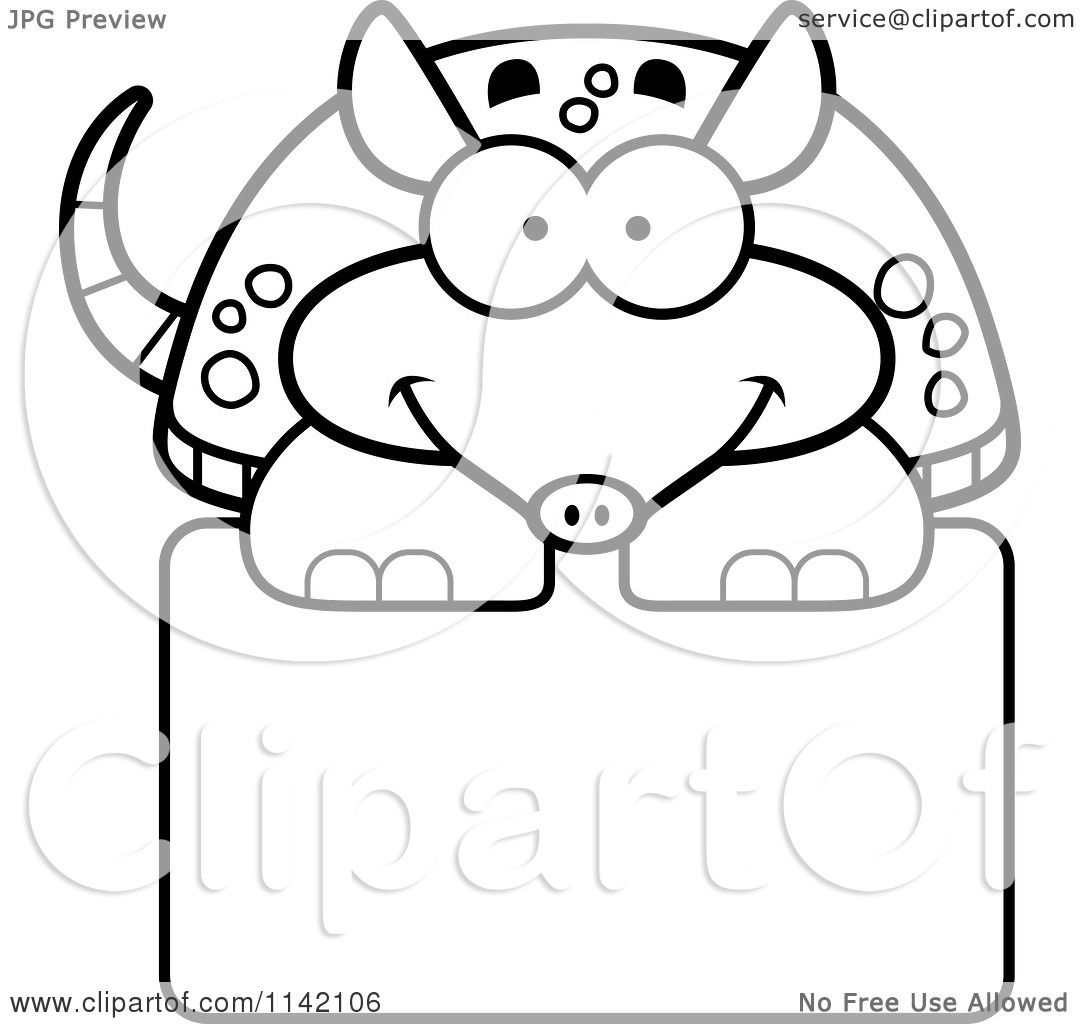 Cartoon Clipart Of A Black And White Happy Armadillo Over