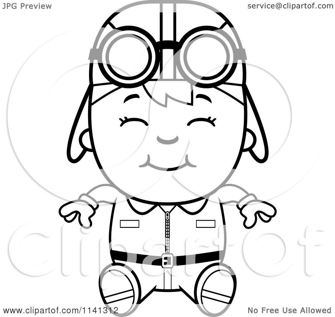 Cartoon Clipart Of A Black And White Happy Aviator Pilot