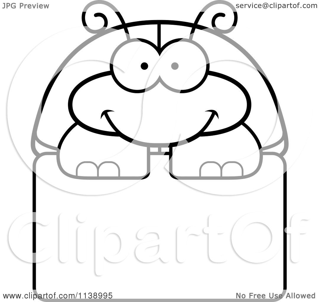 Cartoon Clipart Of A Black And White Happy Beetle Over A