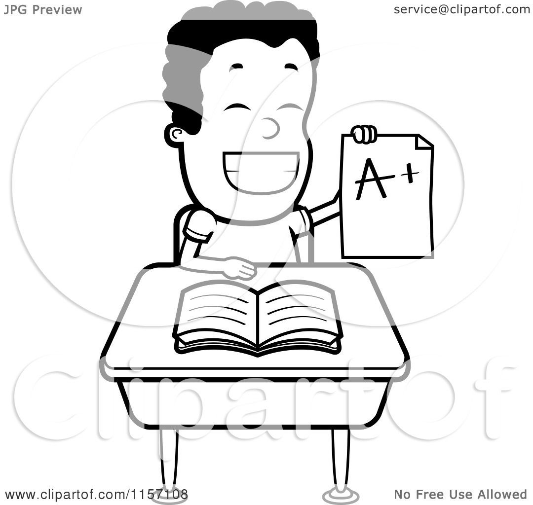 Cartoon Clipart Of A Black And White Happy Boy Holding up