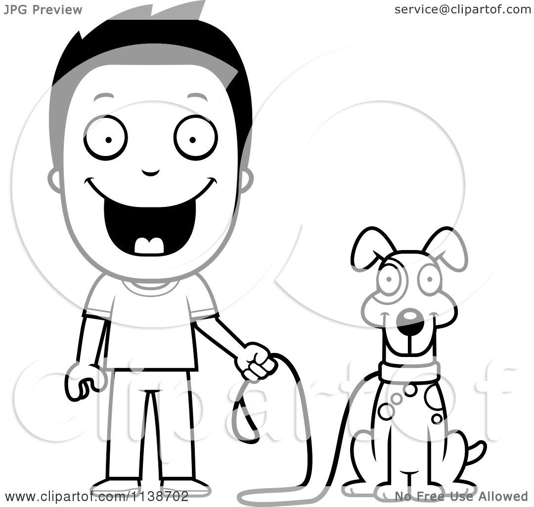 Cartoon Clipart Of A Black And White Happy Boy Ready To