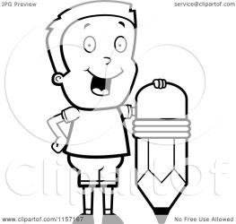 boy happy standing pencil cartoon clipart coloring vector cory thoman outlined