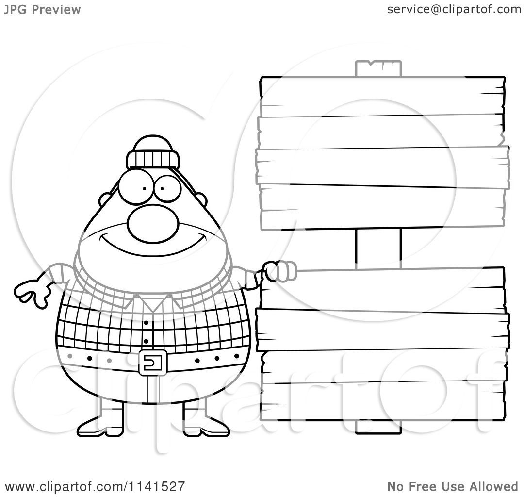 Cartoon Clipart Of A Black And White Happy Chubby Male