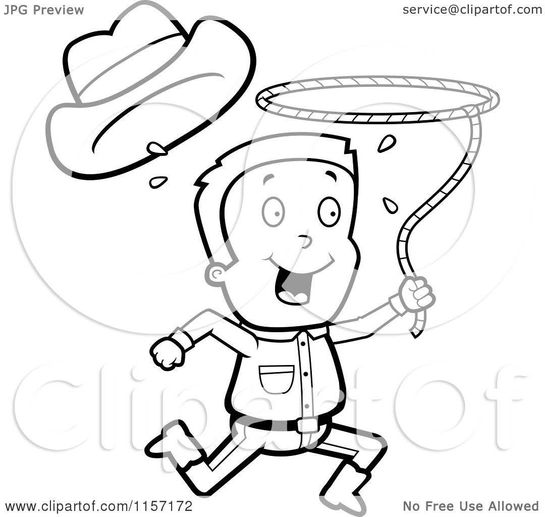 Cartoon Clipart Of A Black And White Happy Cowboy Running