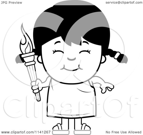 Cartoon Clipart Of Black And White Happy Girl Holding
