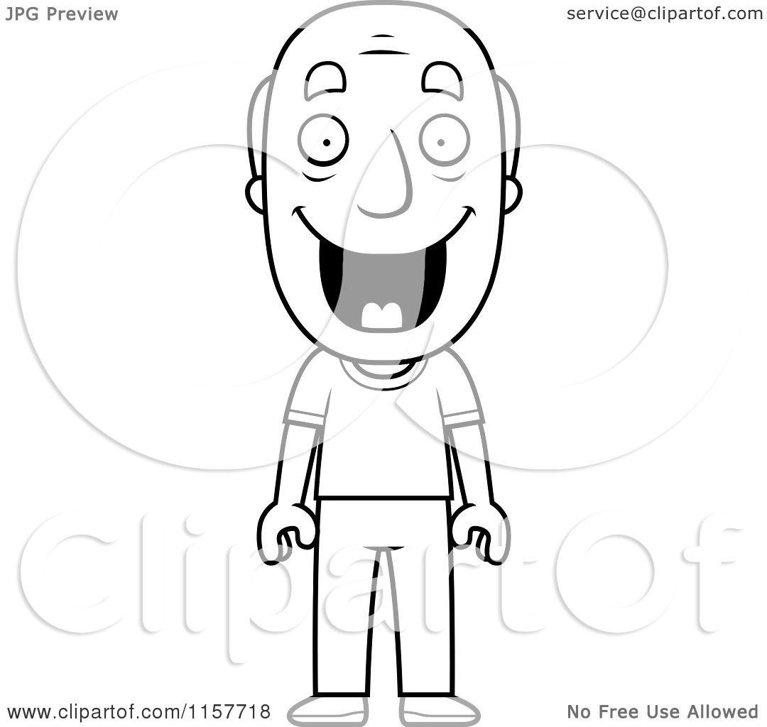 Cartoon Clipart Of A Black And White Happy Grandpa