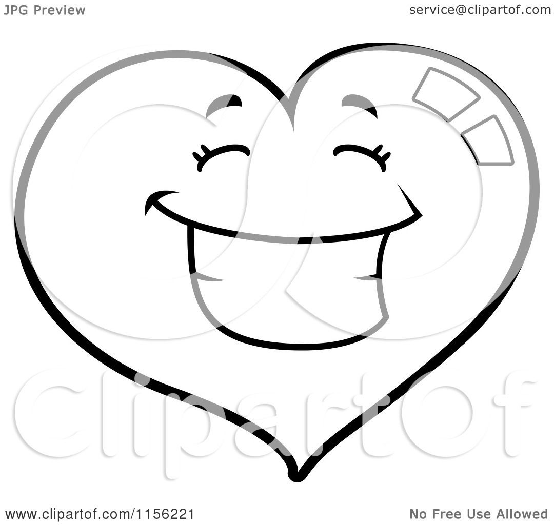 Cartoon Clipart Of A Black And White Happy Grinning Heart