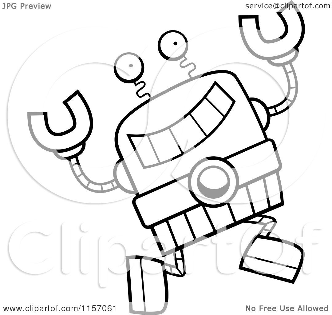 Cartoon Clipart Of A Black And White Happy Leaping Robot