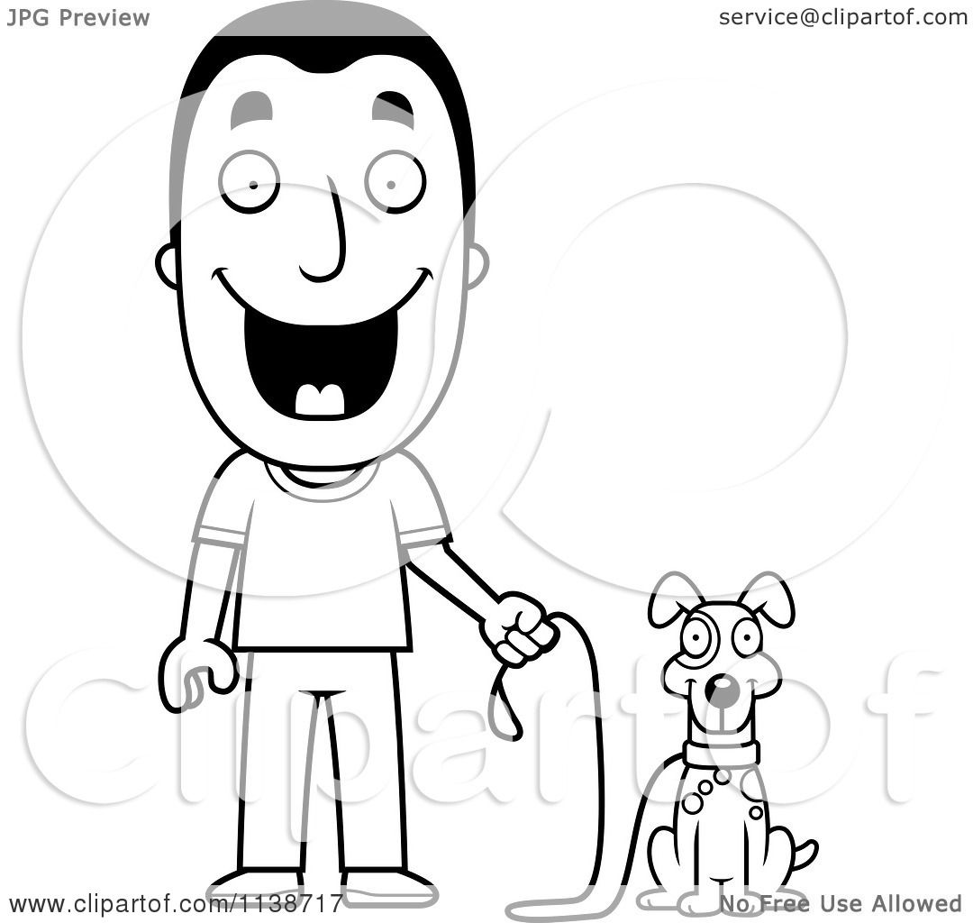 Cartoon Clipart Of A Black And White Happy Man Ready To Walk His Dog