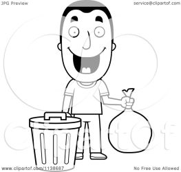 trash taking happy coloring clipart cartoon thoman cory outlined vector illustration