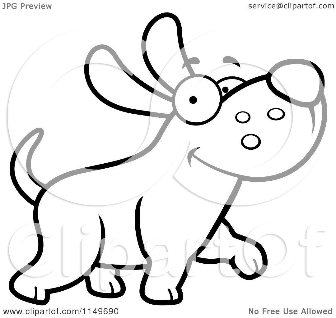 Cartoon Clipart Of A Black And White Happy Max Dog