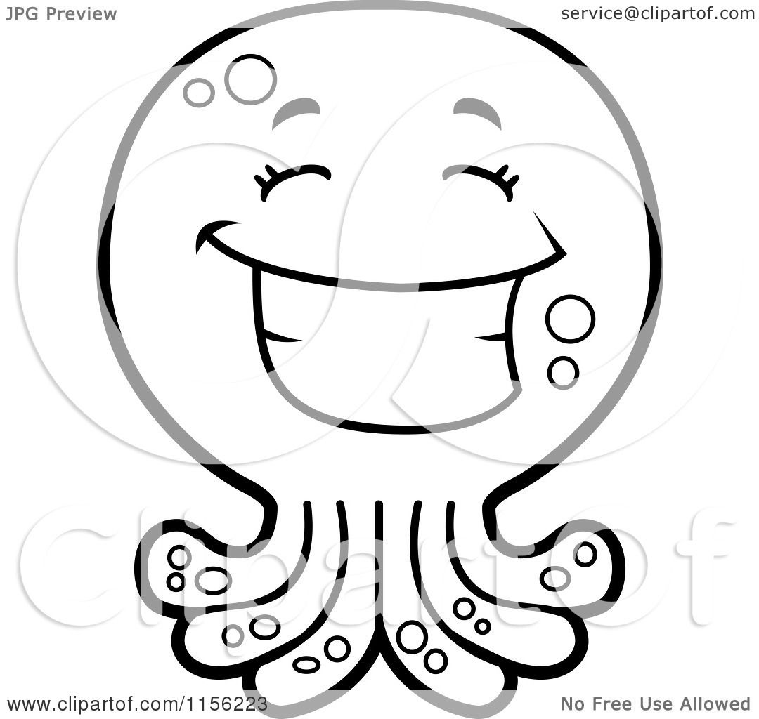 Cartoon Clipart Of A Black And White Happy Octopus