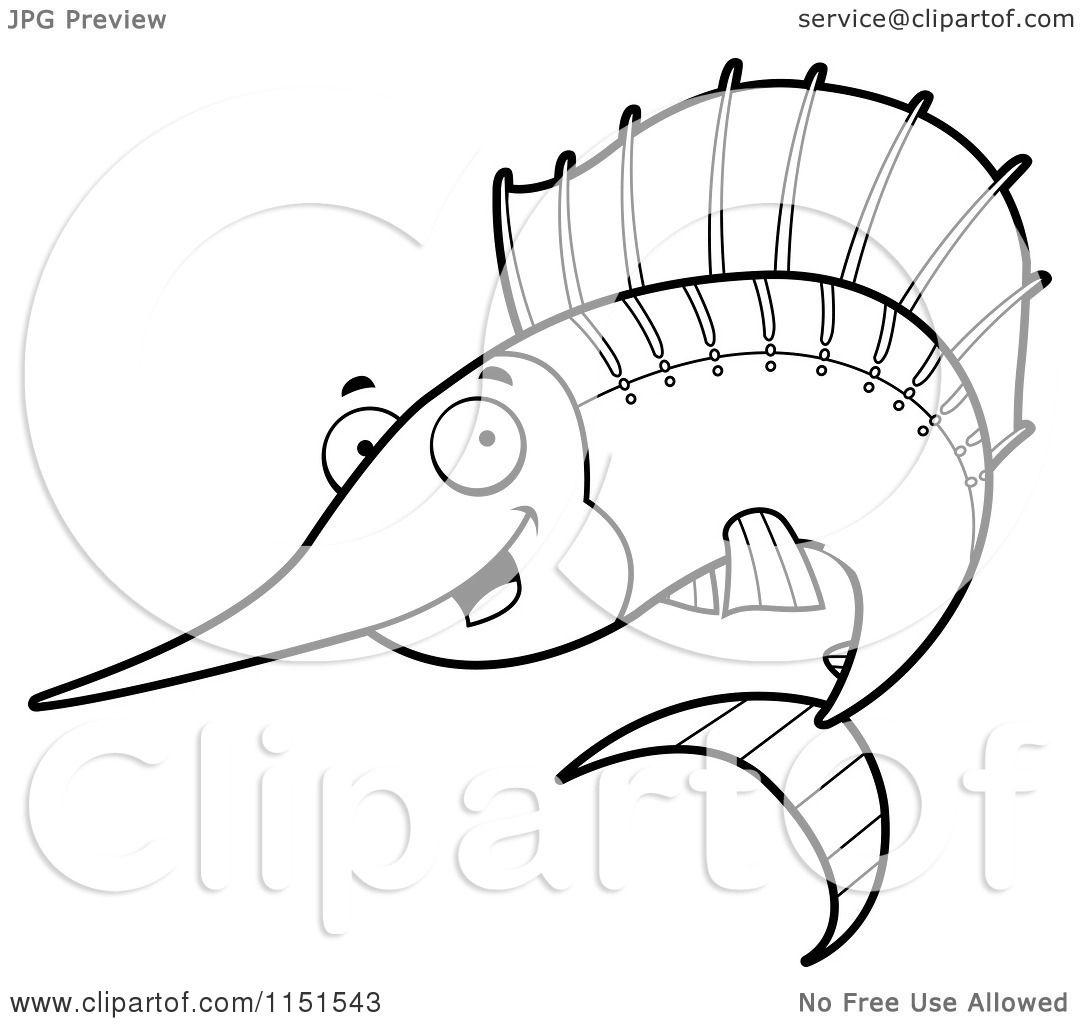 Cartoon Clipart Of A Black And White Happy Sailfish