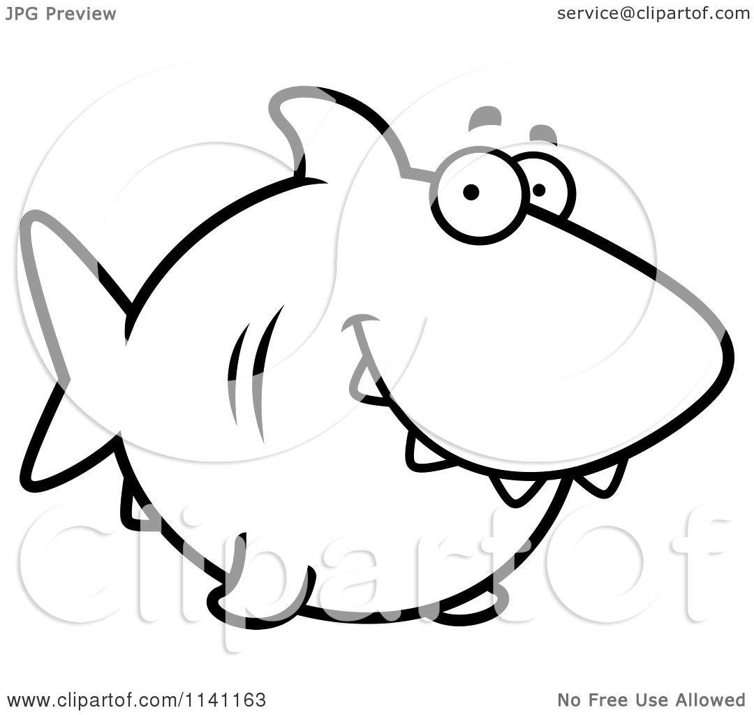 Cartoon Clipart Of A Black And White Happy Shark