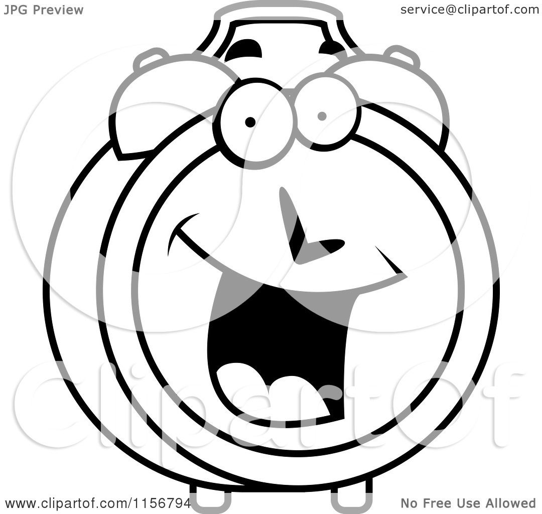 Cartoon Clipart Of A Black And White Happy Smiling Alarm