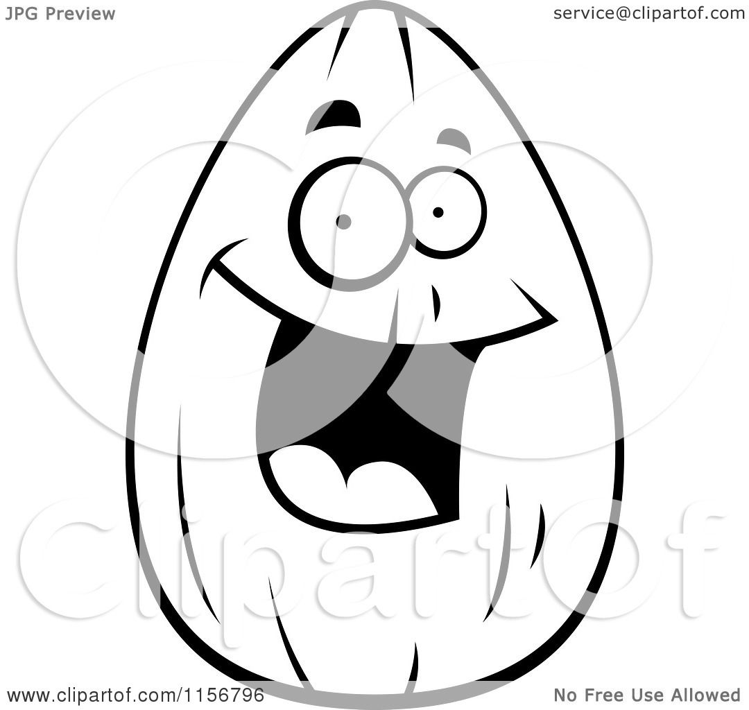 Cartoon Clipart Of A Black And White Happy Smiling Almond